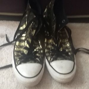 High top Gold and black all star converse